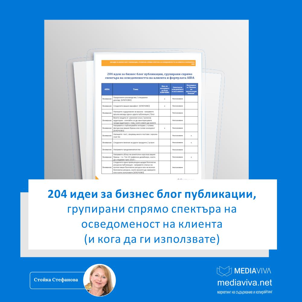 Списък с 204 идеи за бизнес блог